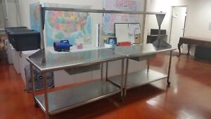Huge 10 Stainless Steel Work Table W steel Drawers Over under Shelves