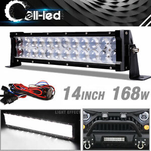 14inch 168w Combo Led Light Bar Pickup Atv 4x4 Reverse Bumper Offroad Harness