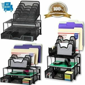 Desk Organizer Set With Drawer And Trays Mesh For Office File Storage Home Black