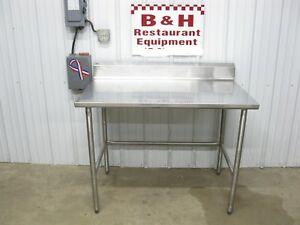 48 X 30 Stainless Steel Heavy Duty Work Table W Back Splash Roll Under 4