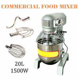 20qt 2hp Commercial Dough Food Mixer Gear Driven Bakery Blender Adjustablespeed