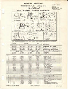 1958 Cadillac Rochester 2gc Tri Power Illustrated Specification Sheet Copy
