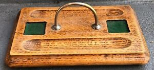 Vintage Carved Oak Portable Footed Pen And Ink Tray