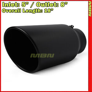 Angled Black 18 Inch 5 Inlet 8 Outlet Stainless Truck 203255 Bolt On Exhaus