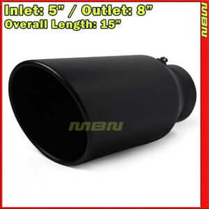 Black 15 Inch 5 Inlet 8 Outlet Stainless Truck 199482 Bolt On Exhaust Tip