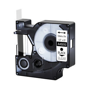 45010 Black On Clear Label Tape Cassette For Dymo D1 Labelmanager 420p 1 2
