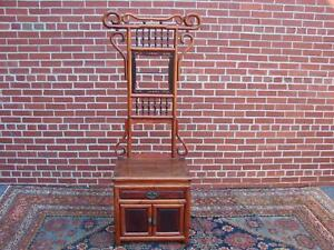 Vintage Chinese Hall Tree Coat Rack Cabinet