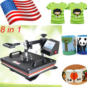Us 8 In1 Heat Press Printing Machine Transfer Sublimation Design T shirt Mug Cap