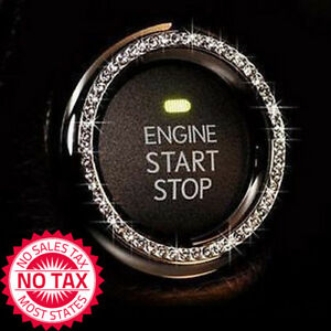 Auto Start Engine Button Bling Crystal Ring Emblem Sticker Silver