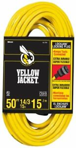 Yellow Jacket 2734 14 3 Heavy duty 15 amp Sjtw Extension Cord With Locking Pl