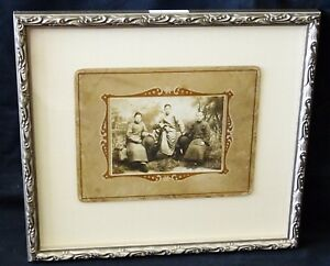 1900 Chinese Framed B W Photo Three Brothers In Robes By Unmarked Mil