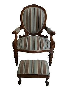 Antique Walnut Louis Xvi Fauteuil Chair And Footstool