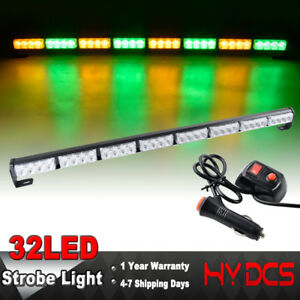 35 32 Led Truck Green Amber Traffic Emergency Warning Advisor Strobe Light Bar
