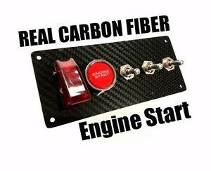 Racing Real Carbon Fiber 12v Switch Panel Led Engine Start Push Button Toggle