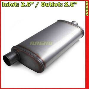 Highflow Straight Through Perforated Muffler 2 5 Offset Inlet center Out 201439