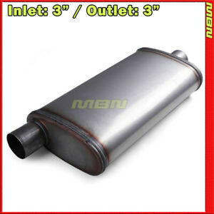 High Flow Straight Through Perforated Muffler 3 Offset Inlet Center Out 201544