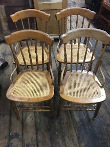Antique Oak Chairs Spindle Back Set Of 4 Refinished New Cane Seats