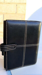 Compact 1 25 Rings Black Genuine Leather Franklin Covey Planner