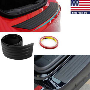 Universal Car Rear Bumper Sill Protector Plate Rubber Cover Guard Door Boot Trim