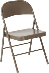 50 Pack Metal Folding Chair Beige Frame Finish Double Braced Commercial Quality