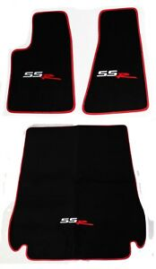 New Black Floor Mats 2003 2004 Chevy Ssr Embroidered Logo Red Binding 3pc Set