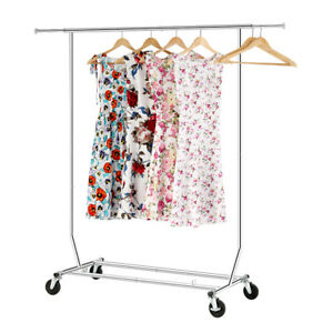 Drying Hanging Rack Collapsible Single Rail Rolling Garment Rack Clothing Rack