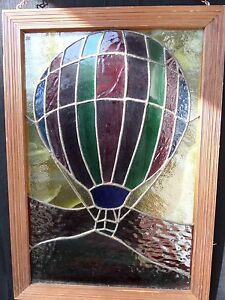 Vintage Stained Glass Panel Window Hung