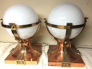 Vintage Deco Slip Shade Pair Of Lamps Architectural Salvage