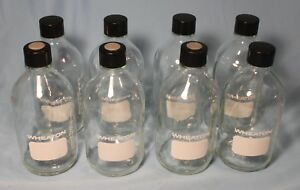 Lot Of 8 Wheaton 500ml Graduated Glass Lab Bottles With Caps