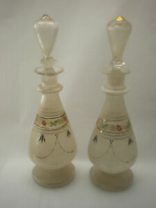 Pair Of Antique Victorian Bristol Glass Enameled Sherry Or Brandy Decanters
