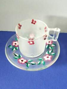 Vintage Hand Painted Glass Tea Cup Saucer Demitasse Made In Italy