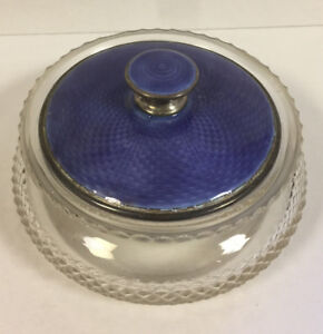 Antique Signed Sterling Silver Guilloche Enamel Crystal Perfume Powder Jar Box