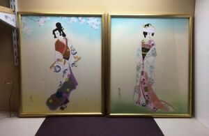 Pair Of 2 Old Japanese Framed Signed Drawing Paintings Of Geisha Girl B0008