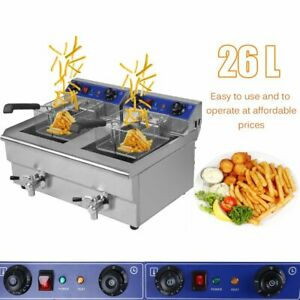 26l Dual Tanks Electric Deep Fryer Commercial Tabletop Fryer With Nasket Scoop