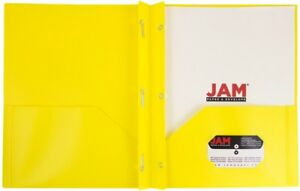 Jam Paper Plastic Eco Two Pocket Presentation Folder With Clasps Yellow