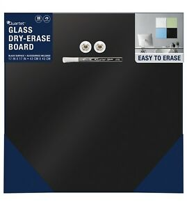 Black Quartet Frameless Glass Dry erase Board Magnetic 17 X 17