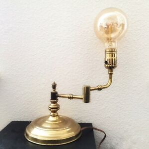 Vintage Brass Swivel Lamp Tested Works Industrial Mid Century Table Desk Usa