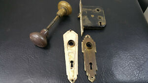 Vintage Brass Door Knob With Plates And Lock Assembly Art Deco