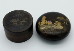 Antique Japanese Wood Lacquer Abalone Boxes Pair
