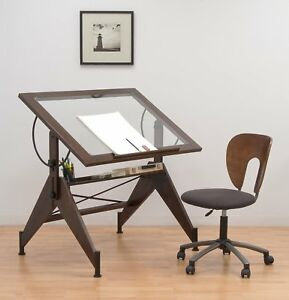 Glass Top Drafting Light Table Drawing Art Work Desk Tracing Design Furniture