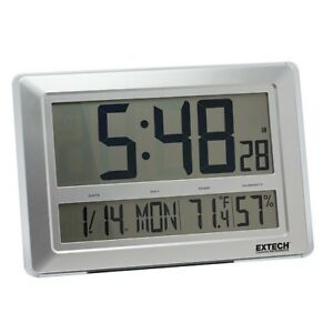 Extech Cth10a Large Wall desktop Clock With Calendar Temperature And Rh Func