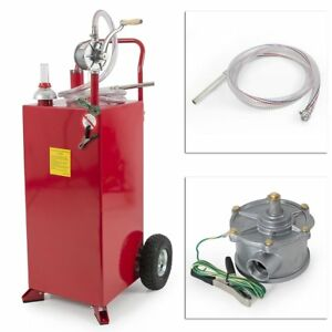 New 30 Gallon Portable Fuel Transfer Gas Can Caddy Storage Dispense Tank W Pump