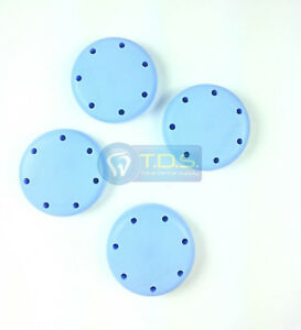 4x Light Blue Round Magnetic Dental Bur Block Holder Plastic 7 Holes