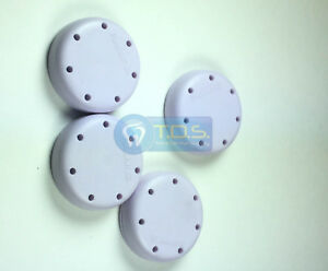 4x Lilac Round Magnetic Dental Bur Block Holder Plastic 7 Holes