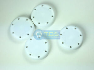 4x White Round Magnetic Dental Bur Block Holder Plastic 7 Holes
