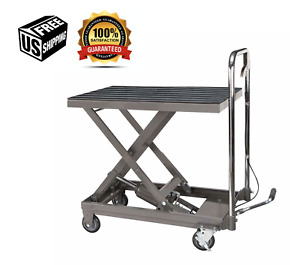 500 Lb Capacity Hydraulic Table Cart Movable Lift Automotive Mechanic Home New