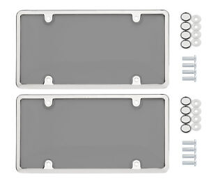 2 Universal Unbreakable Tinted Smoke License Plate Shield Cover 2 Chrome Fram