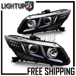 2012 2015 Honda Civic 4 door Sedan Black Bezel Drl Bar Projector Led Headlights