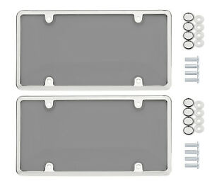 2x Bubble Smoked Tinted License Plate Tag Shield Cover Chrome Frame