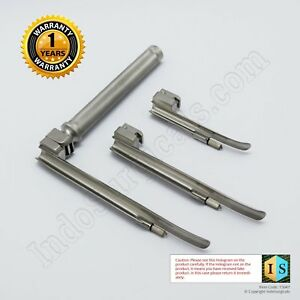 Laryngoscope Set Pediatric Ss 304 Led Bulb Miller Type Blade Size 0 1